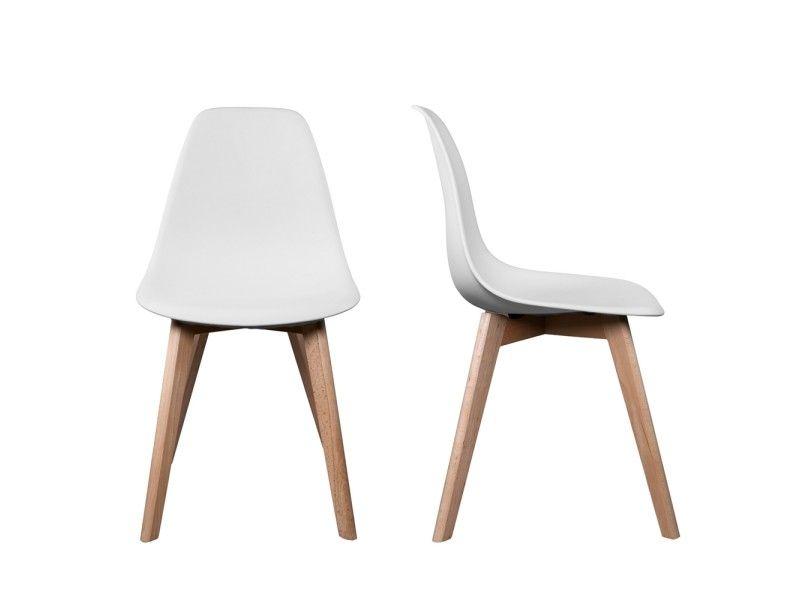 Chaise stokholm blanc pieds bois lot de 2 - Vente de EGO DESIGN