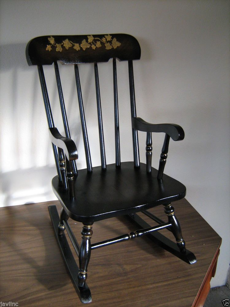 Vintage Black And Gold Child Rocking Chair