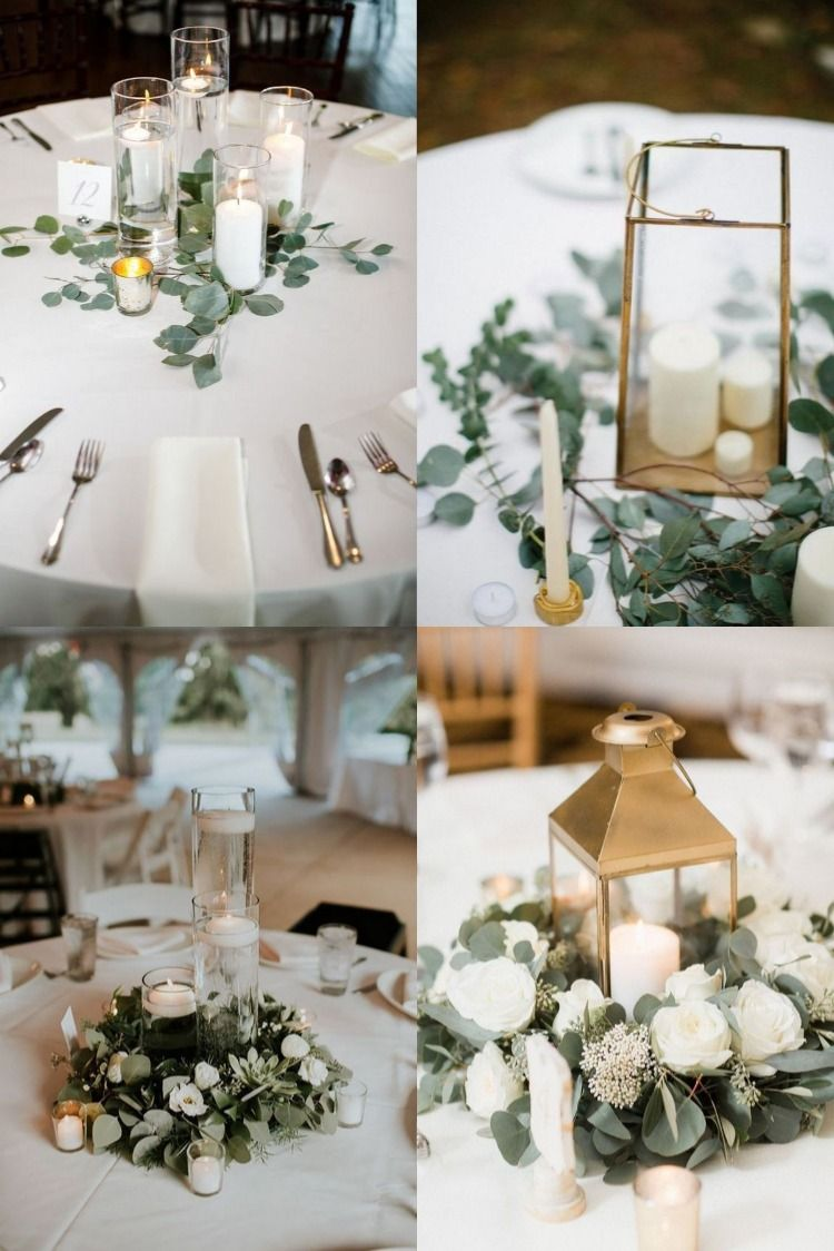 20 Simple And Chic Wedding Centerpieces With Candles In 2020 Wedding Decor Elegant Simple Wedding Centerpieces Greenery Wedding Centerpieces