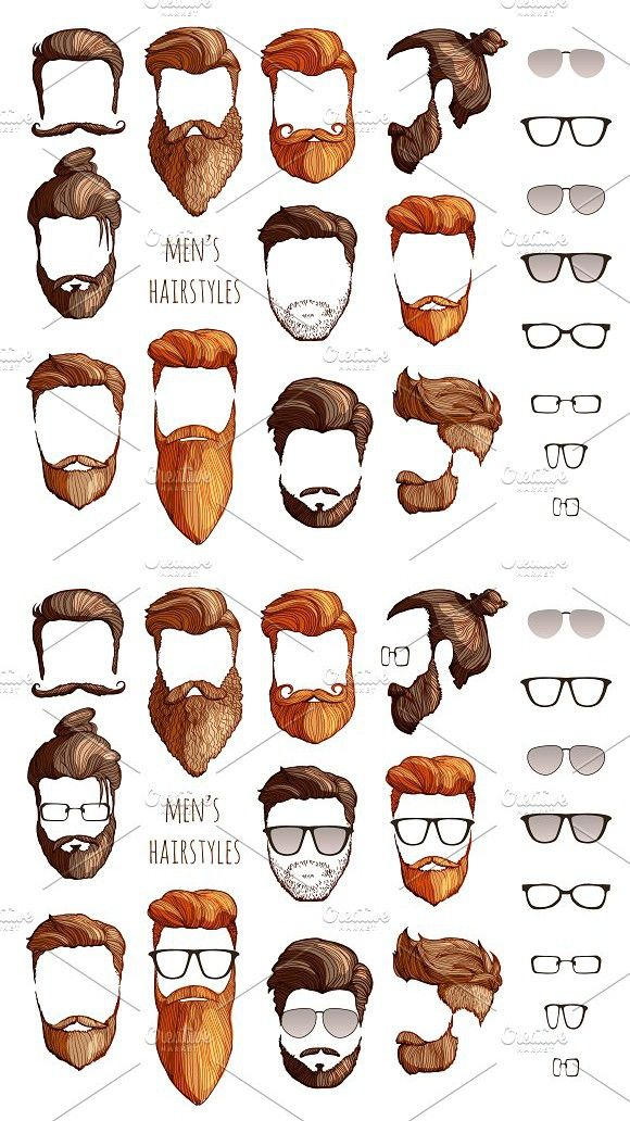 Photo of hairstyles, beards glasses
