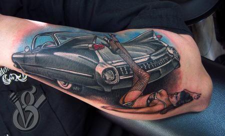 Car Tattoo On Forearm Classic Car Sleeve Tattoo Idea Pinterest