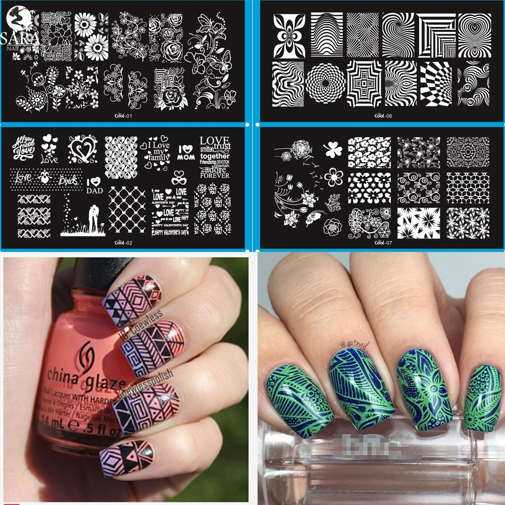 Sara Nagelsalon 1 Stks Nail Stempelen Platen DIY Afbeelding Manicure Nail Art Sjablonen Stencils Gereedschap Geometrische/Bloem LesCool01-20