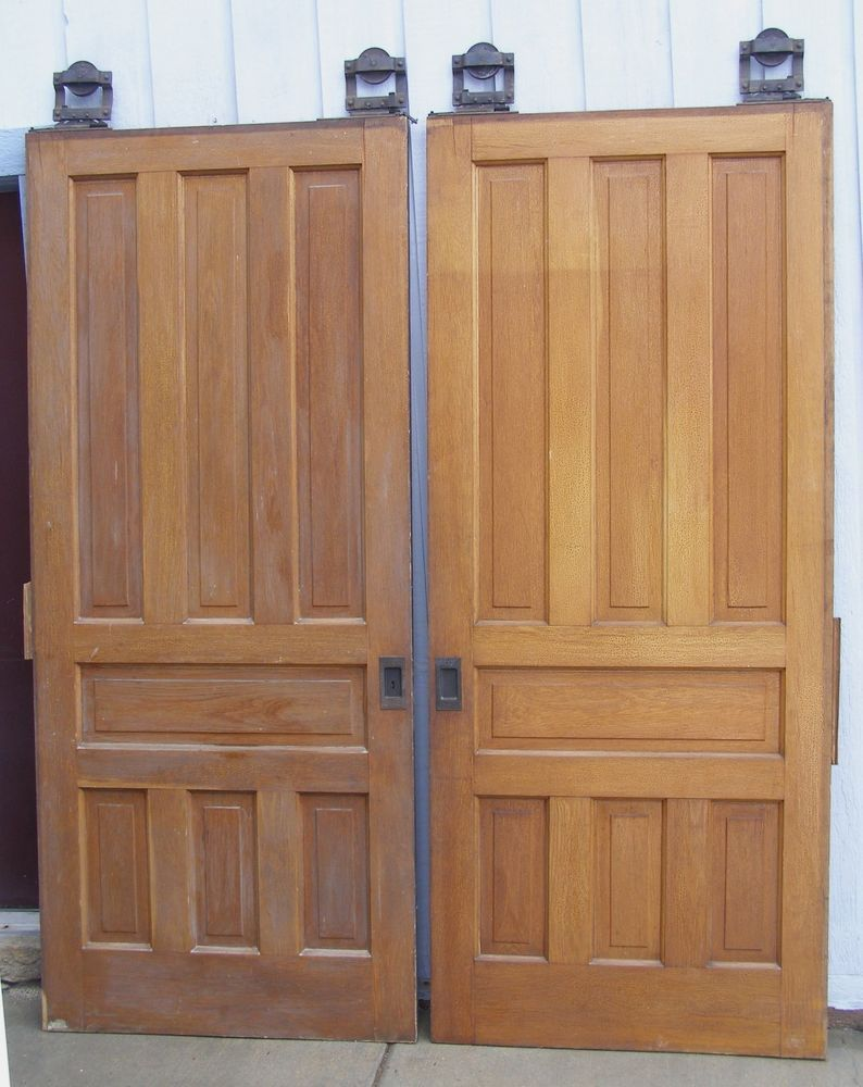 Vintage Antique Double Pocket Doors Hardware 7 Raised Panel