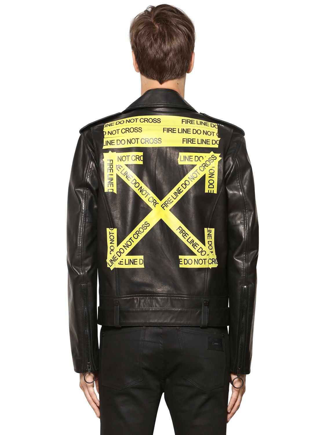 57a3ecdc76dd OFF-WHITE FIRE LINE TAPE LEATHER BIKER JACKET.  off-white  cloth ...