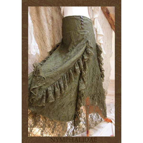 Olive Green Lace Gypsy Renaissance Ruffle Skirt ($38) ❤ liked on Polyvore featuring skirts, grey, women's clothing, gypsy skirt, flounce skirt, army green skirt, ruffle skirt and lacy skirt