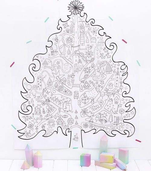 Giant Christmas Tree Coloring Page Wall Art Printable Christmas