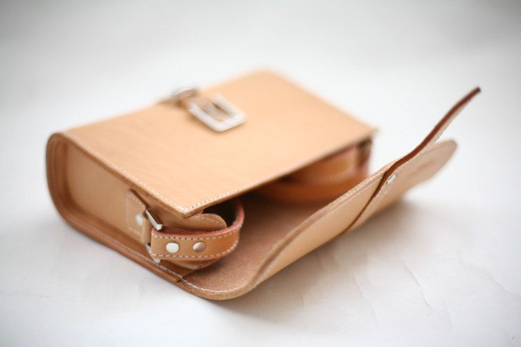 Small Quadrate Leather Bag-Nature