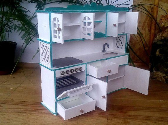 Dollhouse furniture. Kitchen set for Barbie. Barbie furniture. Dolls furniture handmade. Miniatures #barbiefurniture