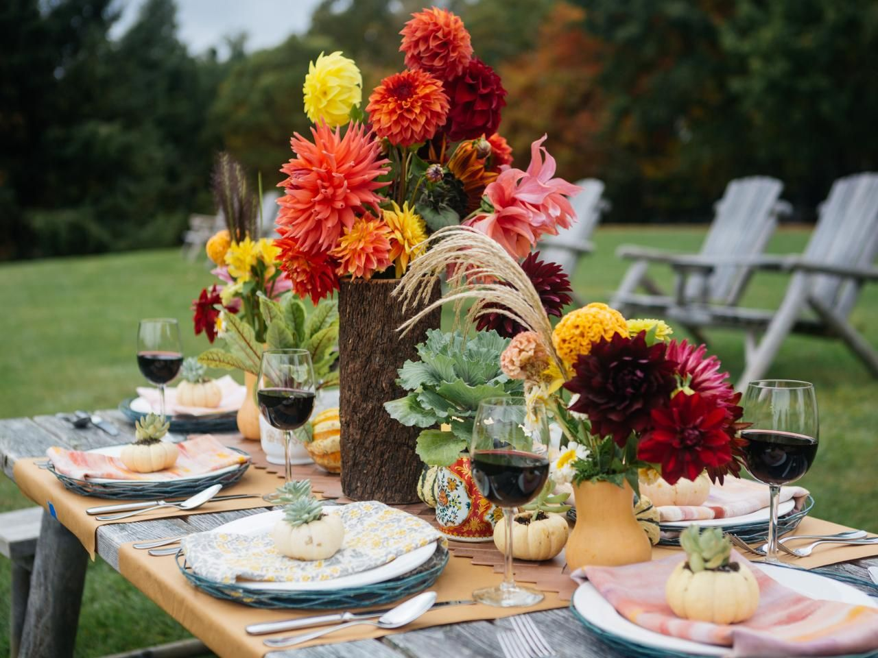 rustic fall table setting ideas for outdoor
