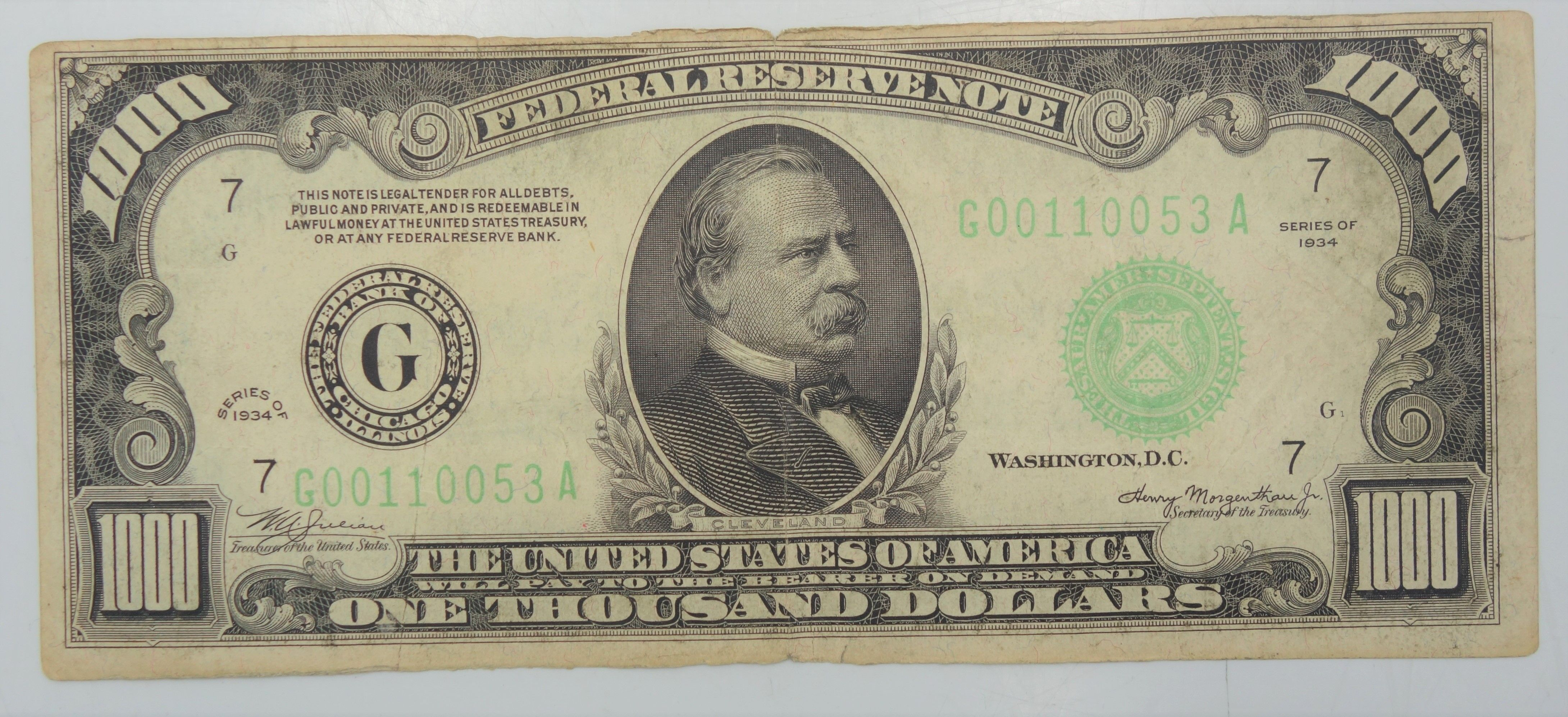 1934 20 dollar bill serial number