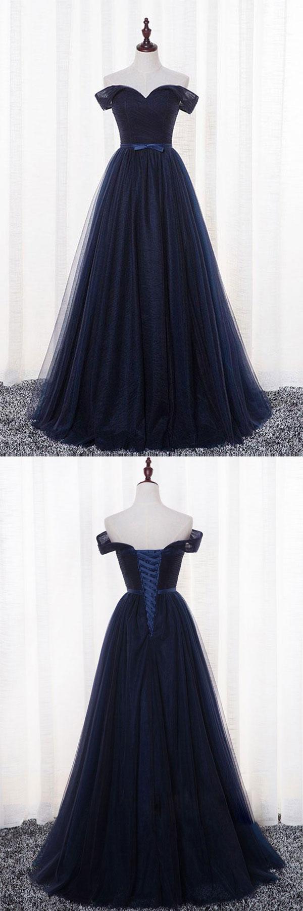 Simple dark blue tulle long prom dress dark blue evening dress