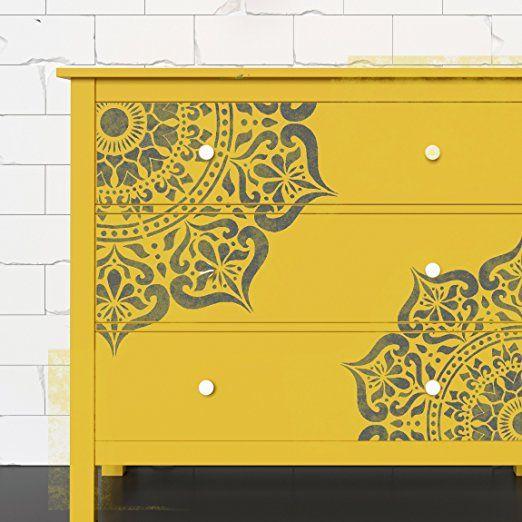 Manali mandala indien circulaire murale meubles sol pochoir 18 cm amazon fr