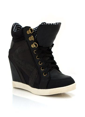 320e6ee5d5426 Amazon.com: Faux Leather Wedge Sneakers: Shoes   Shoes in 2019 ...
