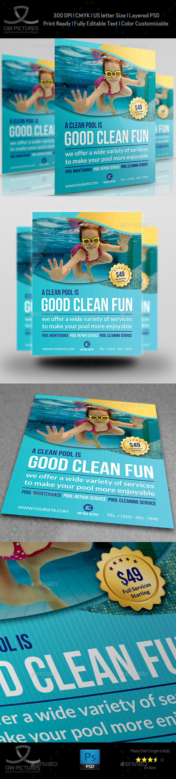 Swimming Pool Cleaning Service Flyer Template  Pool Cleaning