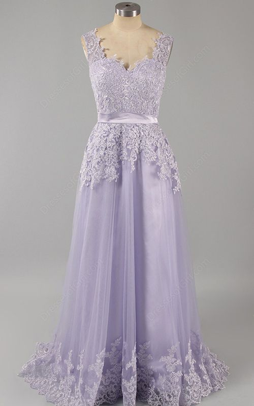 Lace Tulle V Neck Floor Length Sleeveless Lilac Appliques Lace Open Back  Long Prom Dress