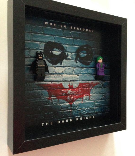 Minifigures Display Case Frame Lego Batman Joker figures Dark Knight