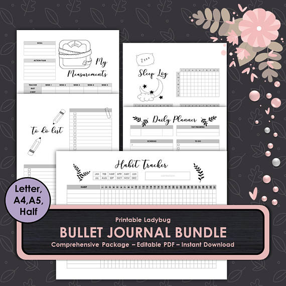 PRINTABLE BULLET JOURNAL BUNDLE u003eu003eWHATu0027S INCLUDED BULLET JOURNAL - editable lined paper