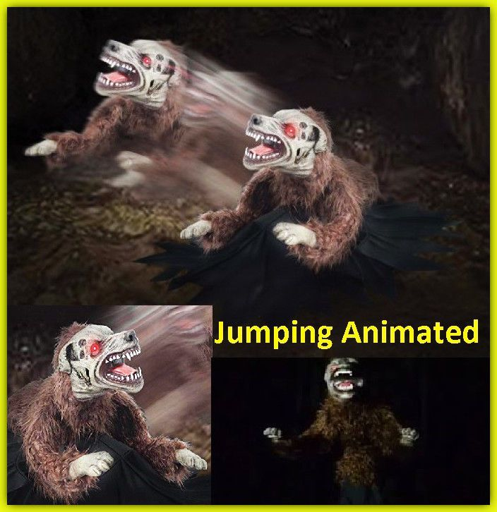 Details about Lunging Mad Dog Animated Halloween Prop Jumping