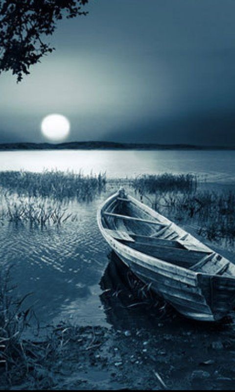 Moon Light Boat Phone Wallpapers Phone Background Arts Pinterest