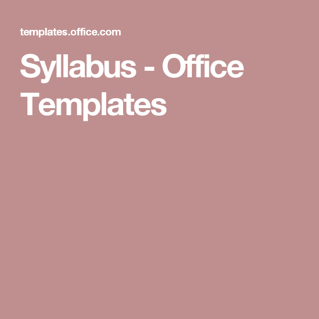 Syllabus  Office Templates  Curriculum Design