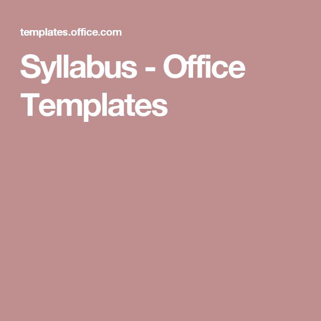 Syllabus  Office Templates  Curriculum Design