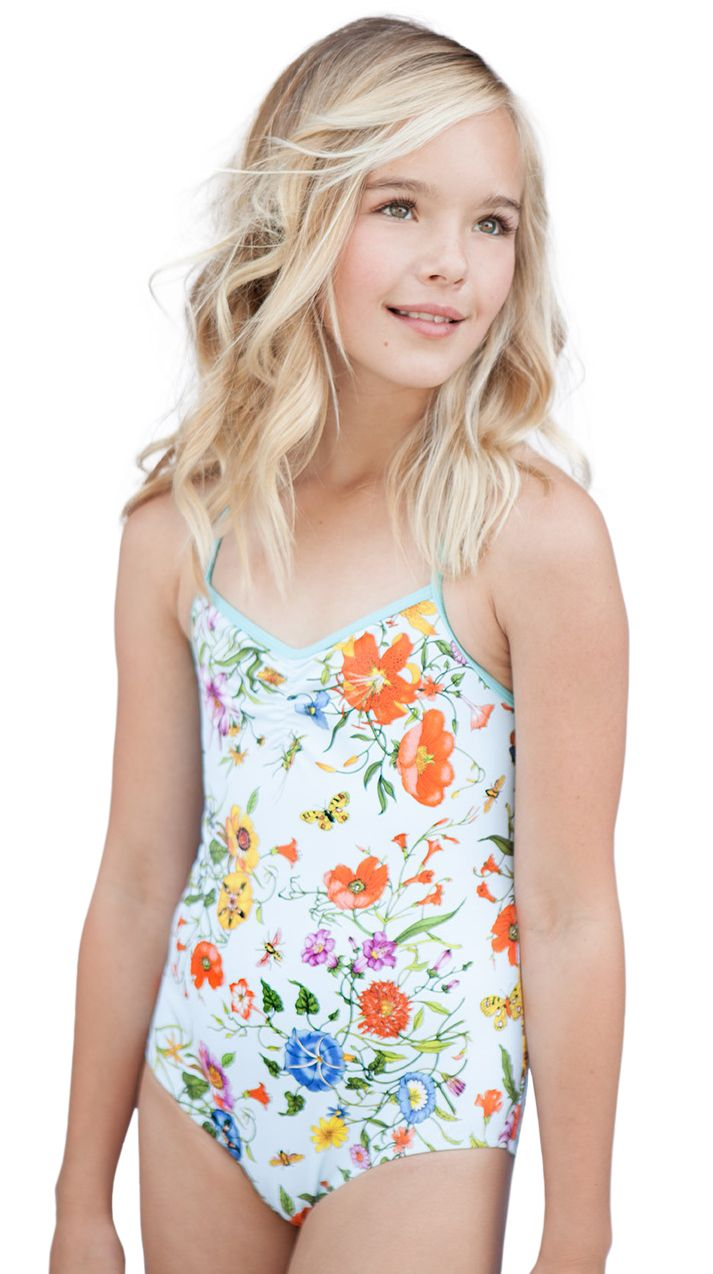 0c3e156fe6 Stella Cove | Dreamy Floral Print On Light Blue Swimsuit For Girls ...
