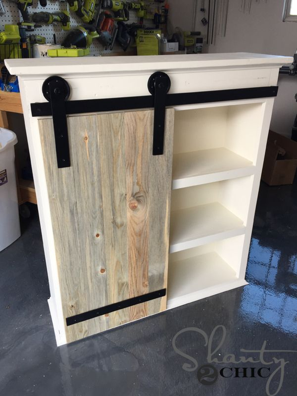 Diy sliding barn door bathroom cabinet diy diy sliding - Sliding barn door bathroom vanity ...