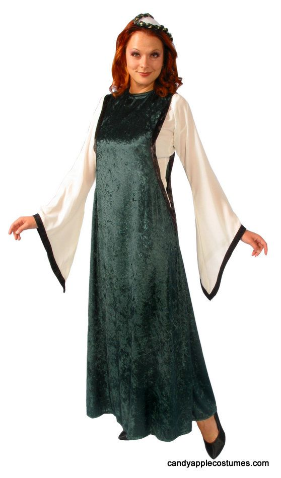 Adult Medievel Noble Maiden Costume - Green - Candy Apple Costumes