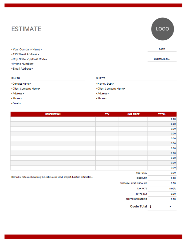 Estimate Templates Free Easy Invoice Template Word Estimate Template Invoice Template