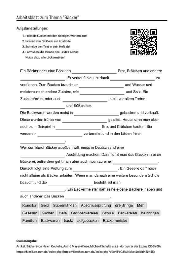 Arbeitsblatt Mit Luckentext Zum Thema Backer Aufgabenstellung Arbeitsblatter Arbeit
