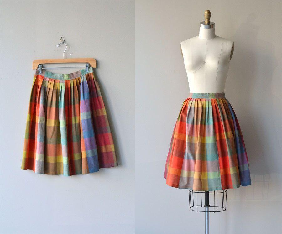 Autumn Madras skirt | vintage 1950s skirt | cotton plaid 50s skirt by DearGolden on Etsy https://www.etsy.com/listing/252763464/autumn-madras-skirt-vintage-1950s-skirt