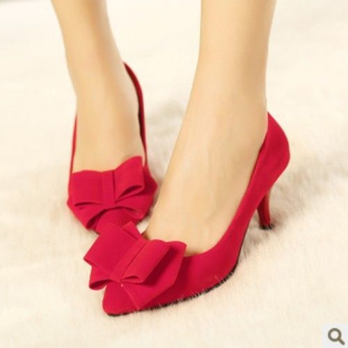 2014 New Spring Womens Faux Suede Pointy Toe Bowtie Low Heel Wedding Dress Shoes #New #PumpsClassics