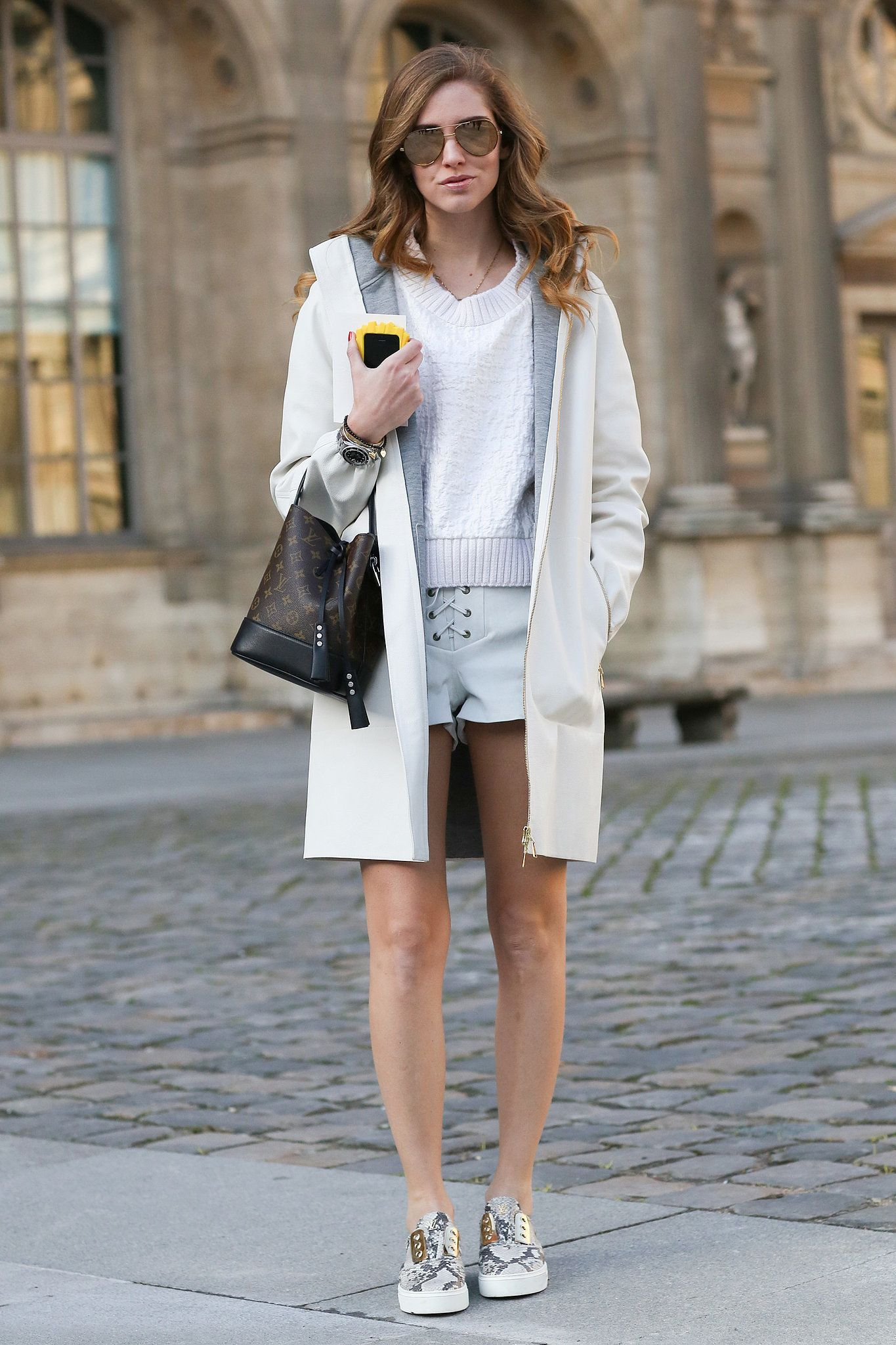 a1c38fe87a Chiara Ferragni s slip-ons lend just the right sporty vibe to finish off  her shorts and sweater combo.