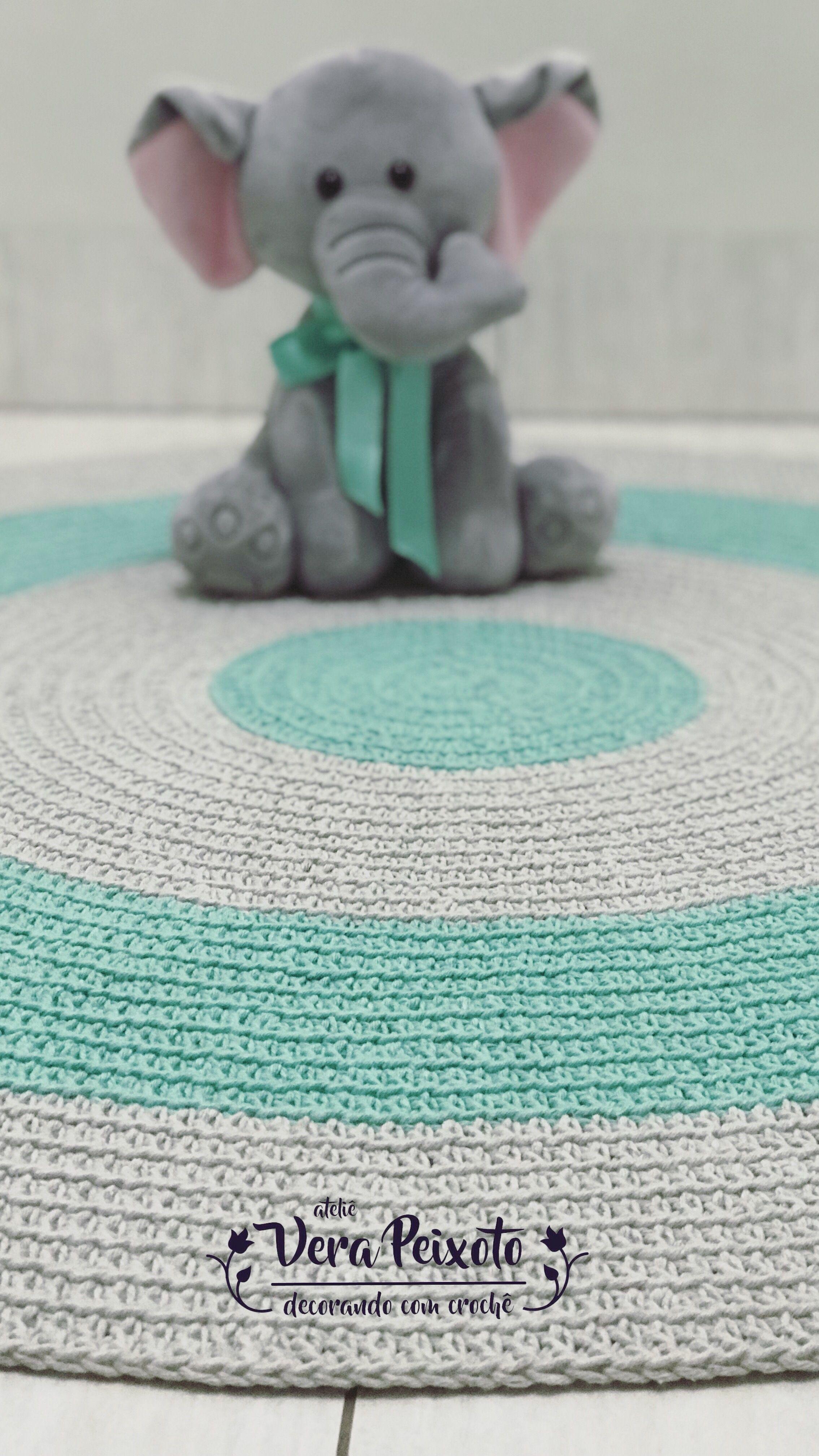 Tapete redondo verde água e cinza - Baby Luquinhas | Pinterest