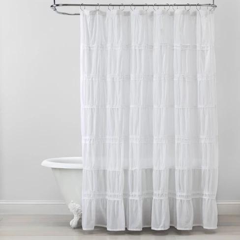 Raw Edge Ruffled Shower Curtain White Opalhouse Ruffle Shower