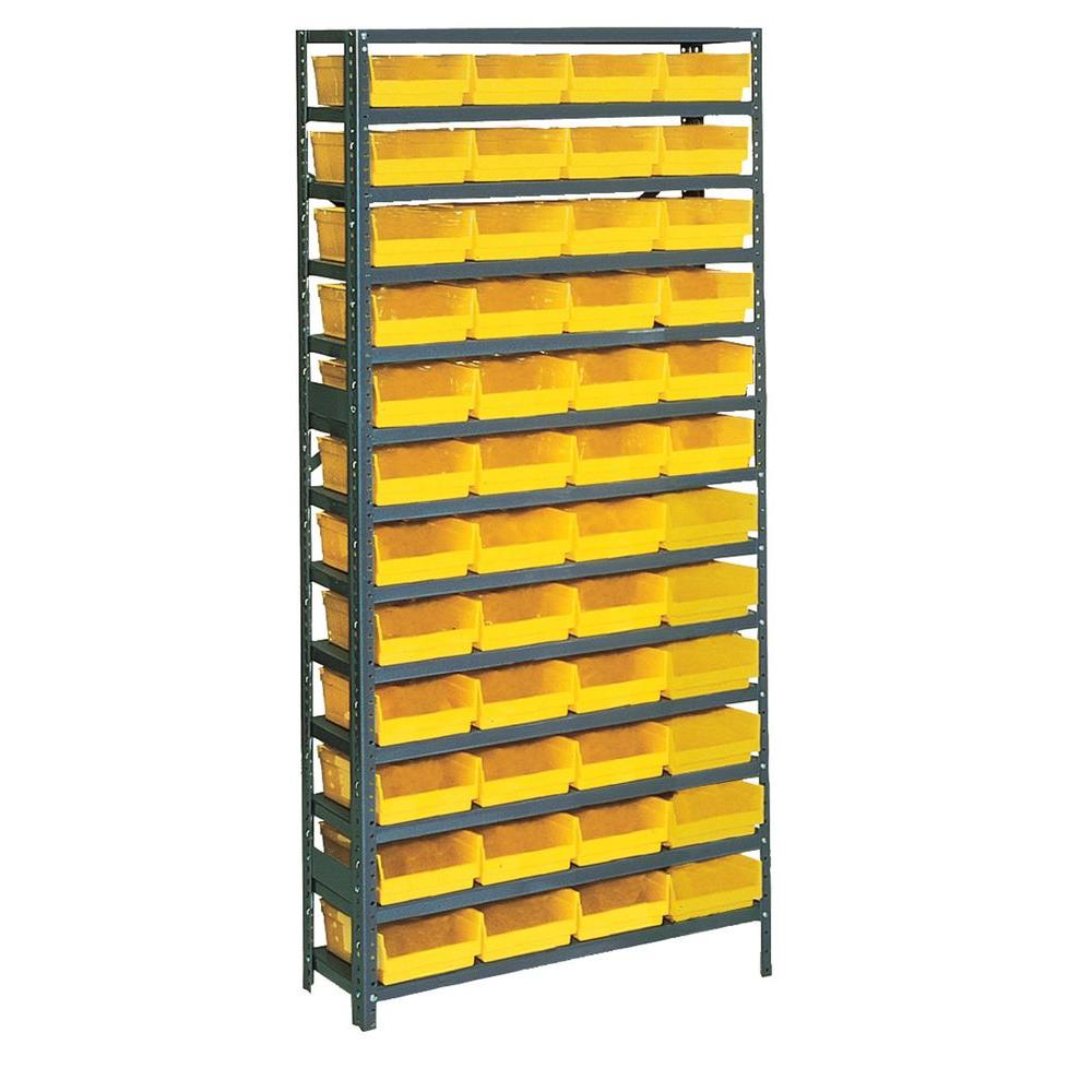 Edsal 75 In H X 36 In W X 12 In D Plastic Bin Small Parts Gray Steel Storage Rack With 48 Yellow Bins Pb308 The Home Depot Steel Storage Rack Plastic Bins Storage Rack