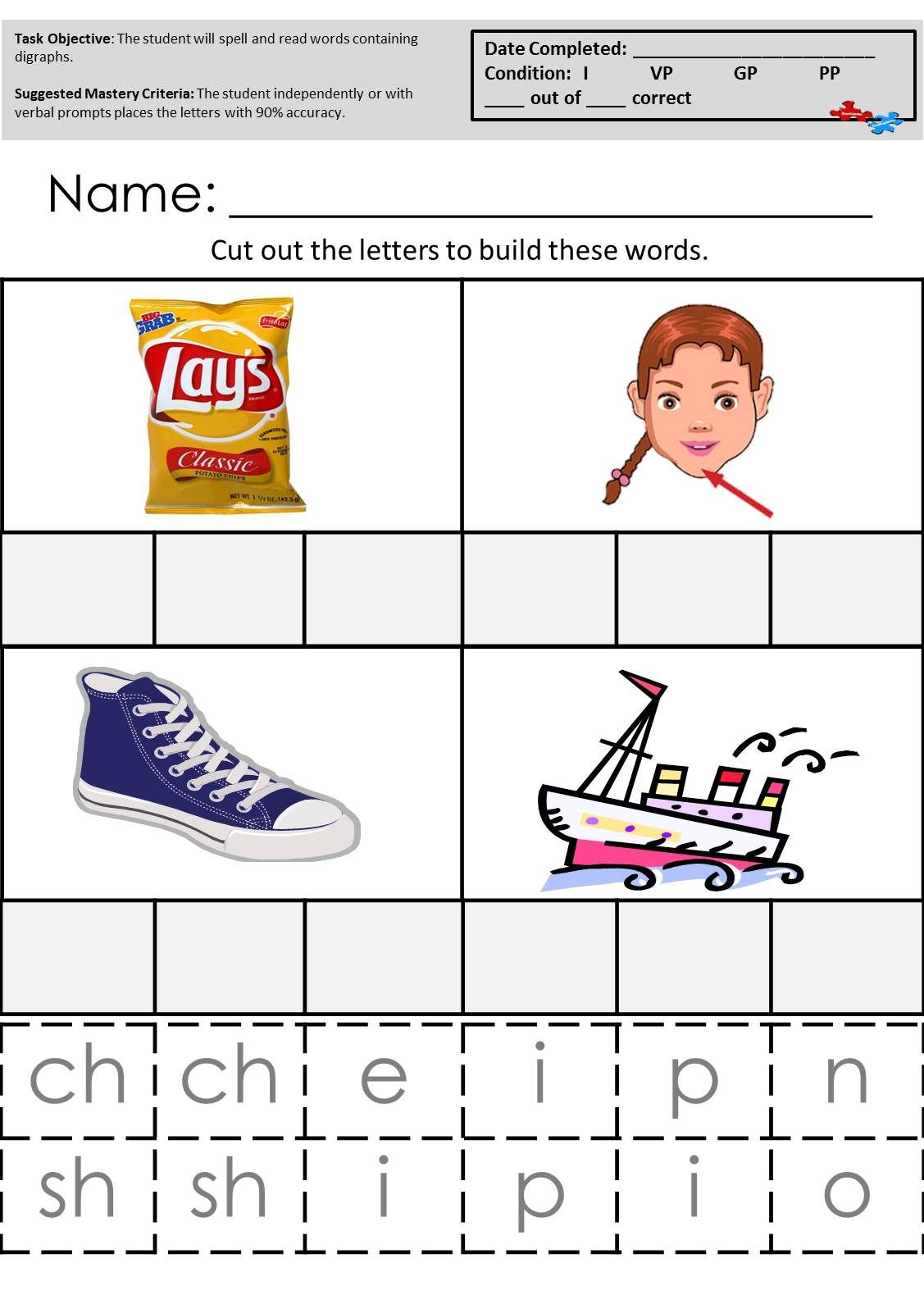 Practice With Digraphs Ch And Sh These And Other Great