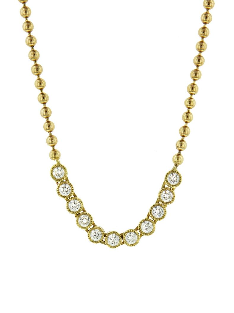 ARK Fine Jewelry -Bead Chain Tennis Necklace - Yellow Gold    Handcrafted in 18-karat yellow gold.  Detailed in diamonds.  Necklace measures 23-in. long.  Finished with a diamond gateway push clasp.