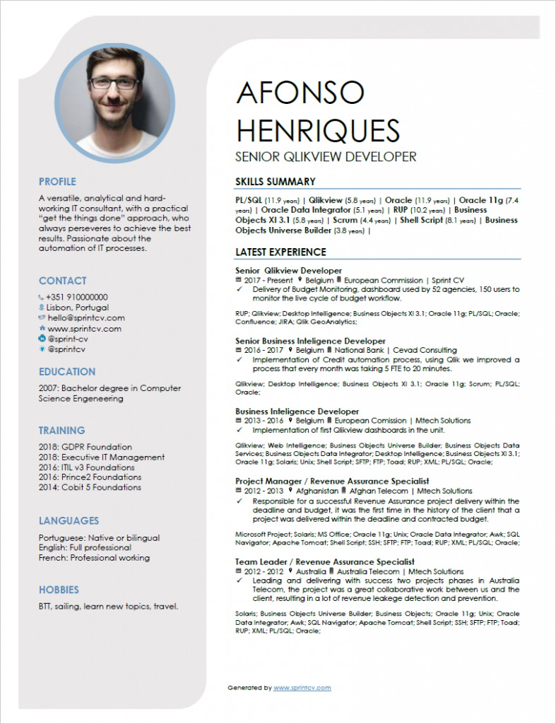 It Resume How To Write An Amazing One Page Cv Sprint Cv Cv Template Downloadable Resume Template Cv Template Download