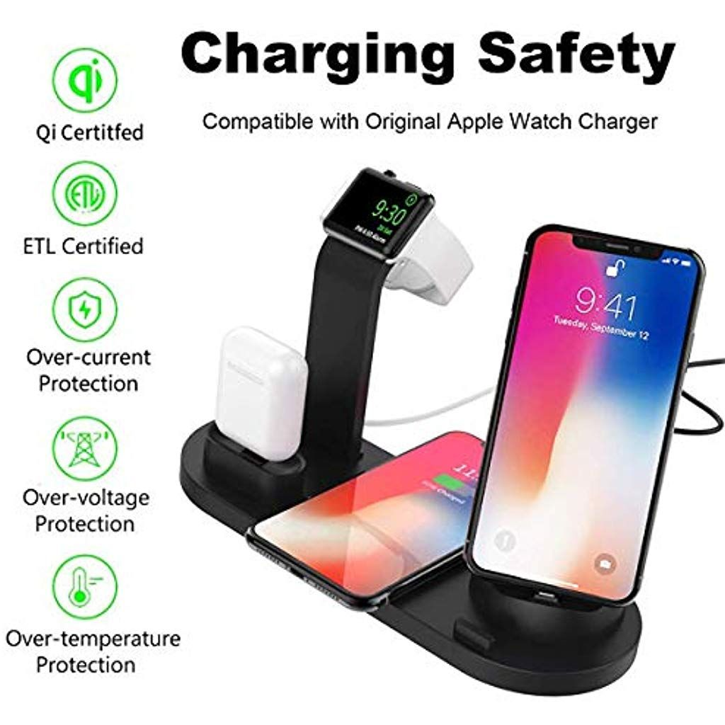 ideallife Wireless Charging Station for Multiple Devices 9-in-1 LCD Display Fast Charging Dock Organizer with 8 USB Ports and 10W Qi Wireless Charging Pad Compatible with iPhone,Ipad,Samsung Black