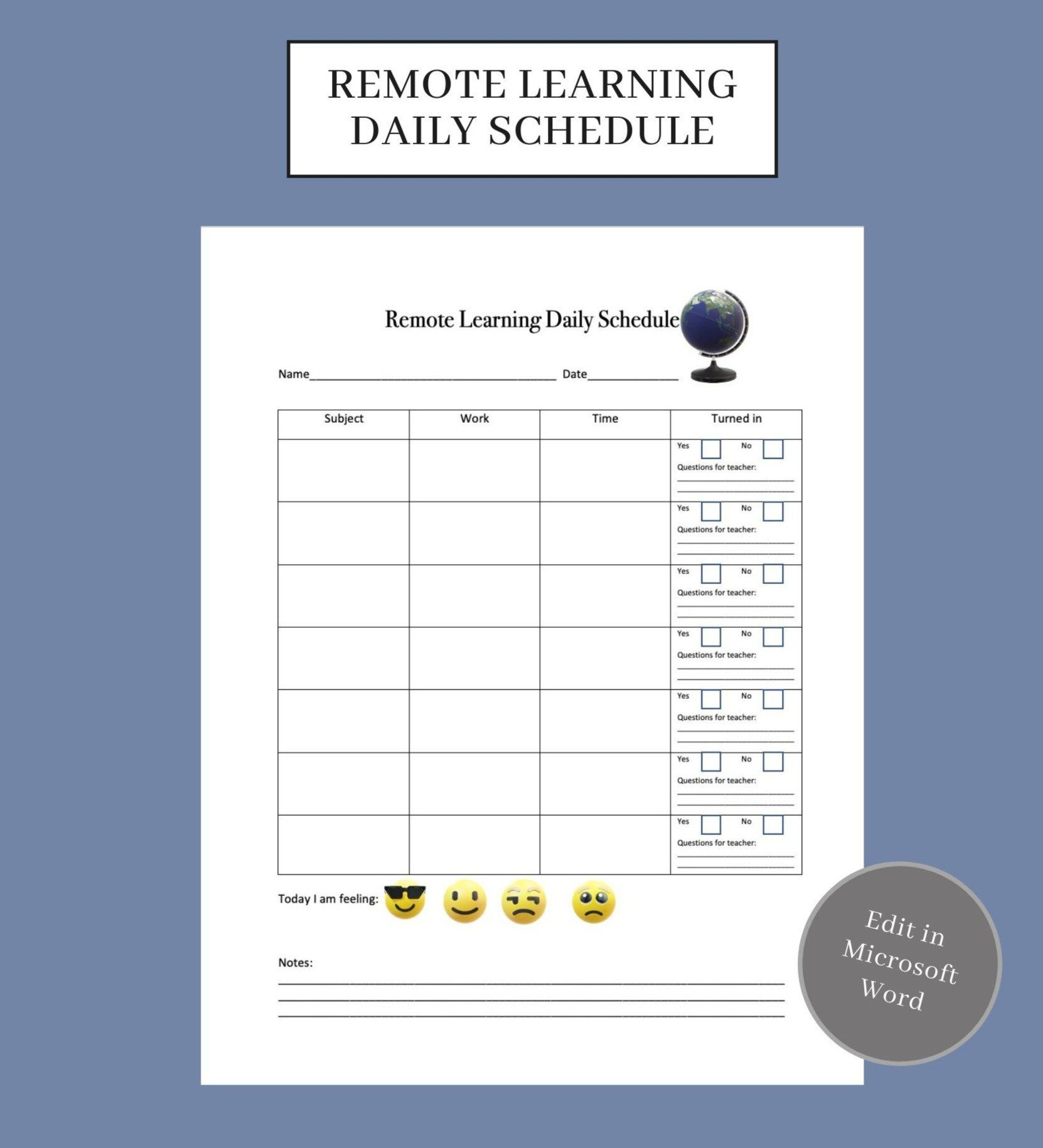 Digital Remote Learning Daily Schedule In 2021 Daily Schedule Learning Schedule Microsoft word daily schedule template