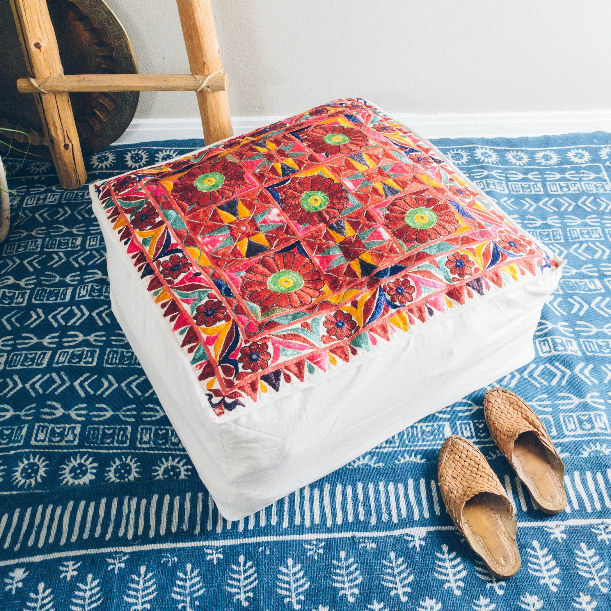 27 Indian Embroidered Floor Cushion