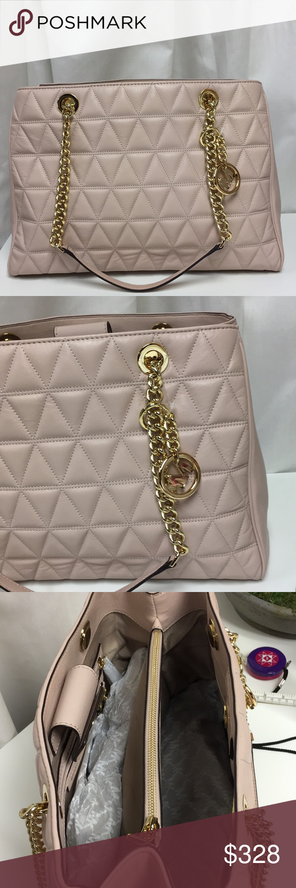 3a2f47d27bc3 Michael Kors Scarlett Large Soft Pink Quilted Bag Michael Kors Scarlett  Large Soft Pink Quilted Leather