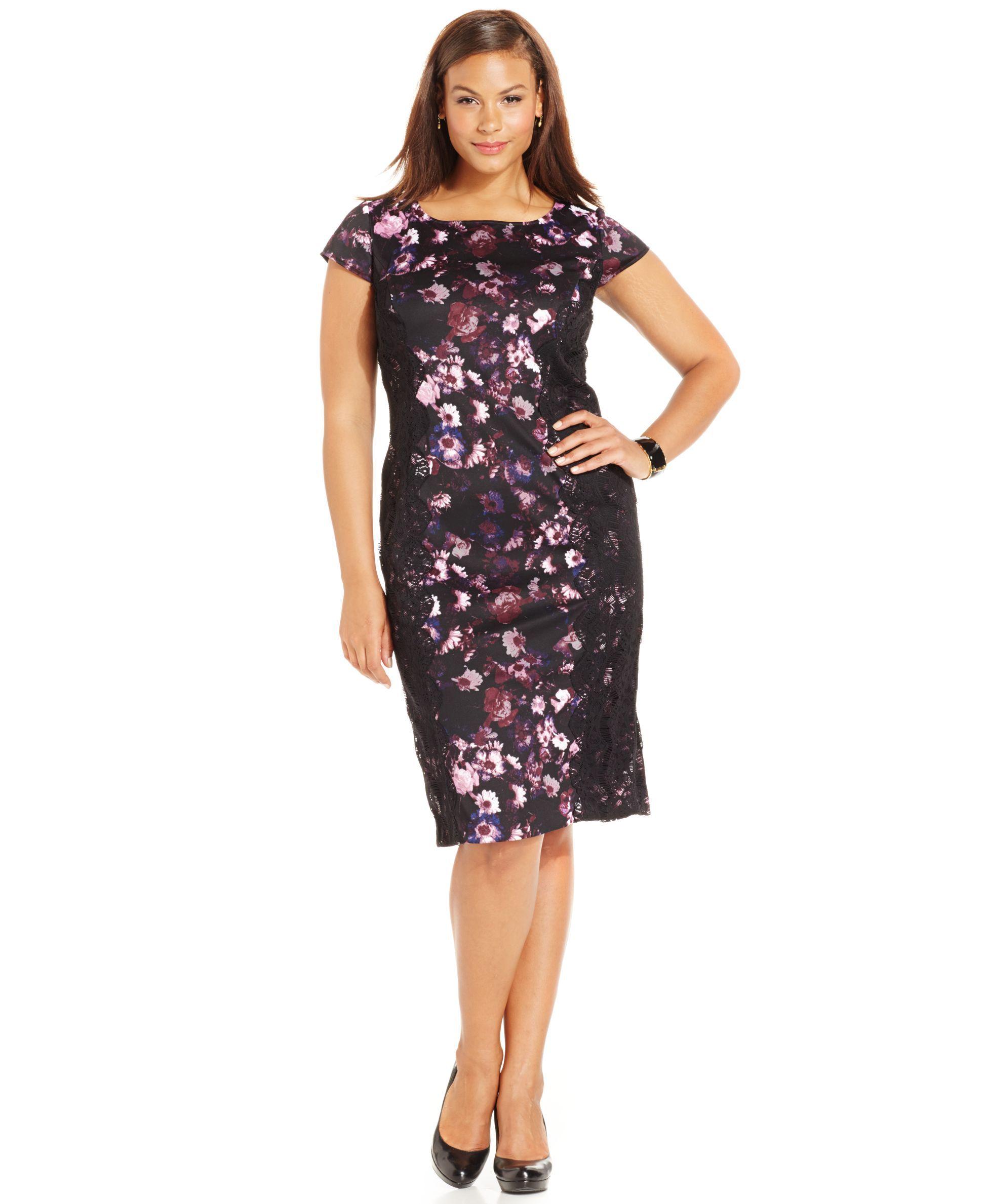 Sl sl fashion dresses - Sl Fashions Plus Size Lace Panel Scuba Dress