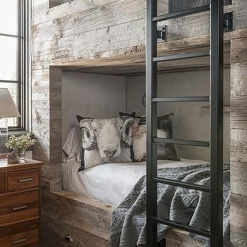 Barn Board Bunk Beds with Storage Drawers barn door