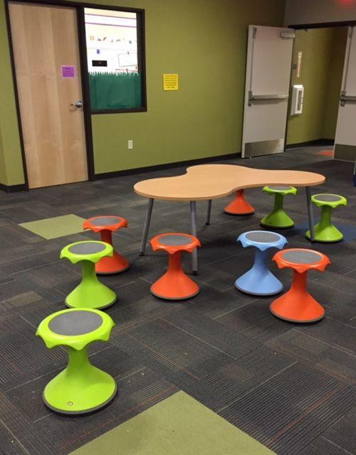 Hokki Stools In A Hub Area Elem School Hokki Stool Flexible