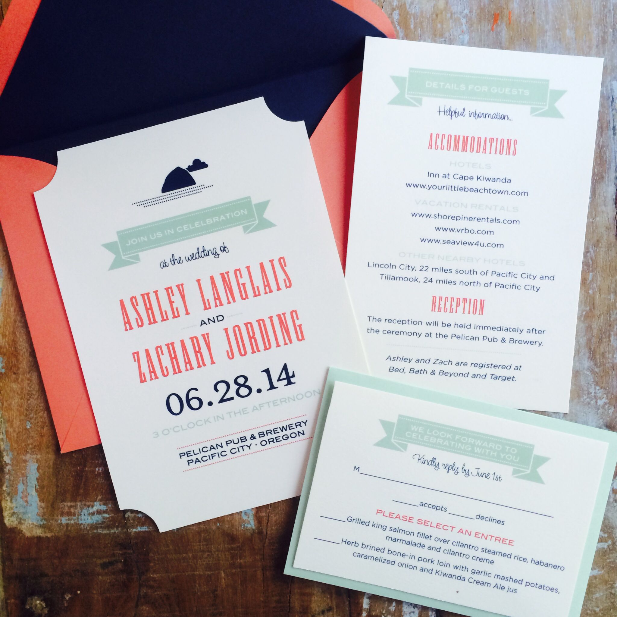 Invites for a wedding this summer at Pelican Pub Brewery on the ...