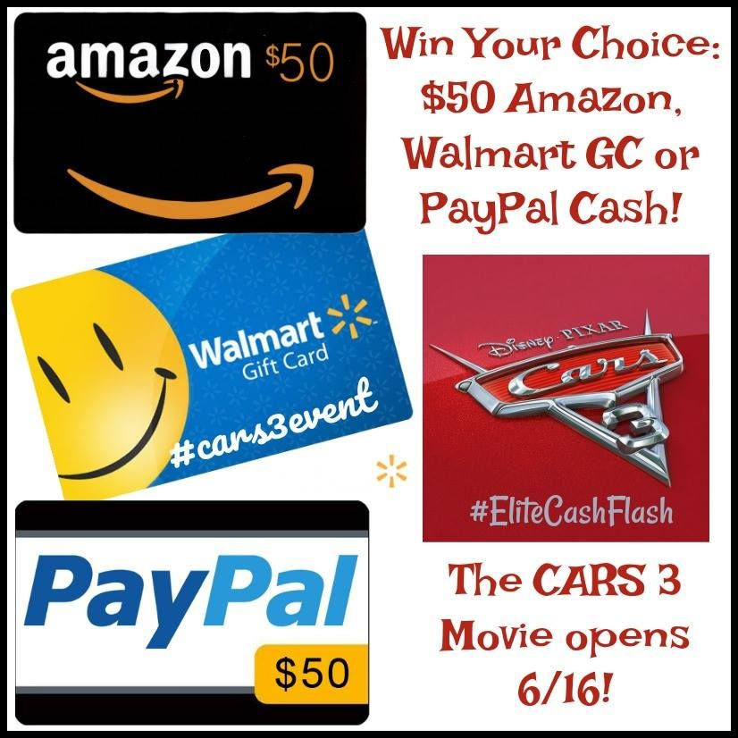 $50 Amazon, Wal-Mart or Cash Giveaway   Gift cards, Cars and Enter ...