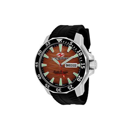Stainless steel case with Helium Valve, Silicone strap, Brown dial, Quartz movement, Scratch resistant mineral, Water resistant up to 100 ATM - 1000 meters - 3300 feet