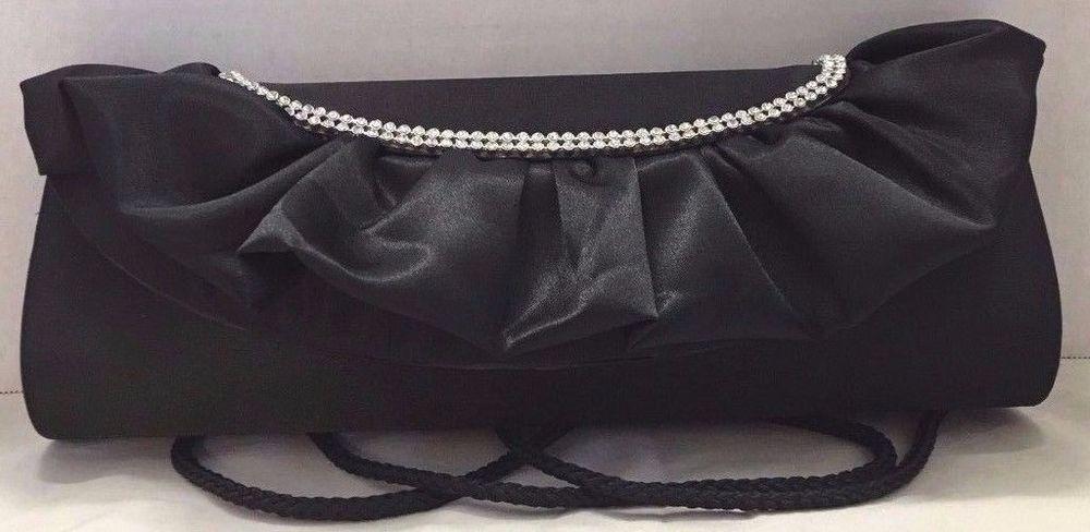 Lulu Townsend Handbag Black Satin Evening Clutch Rhinestone Rope Shoulder Purse